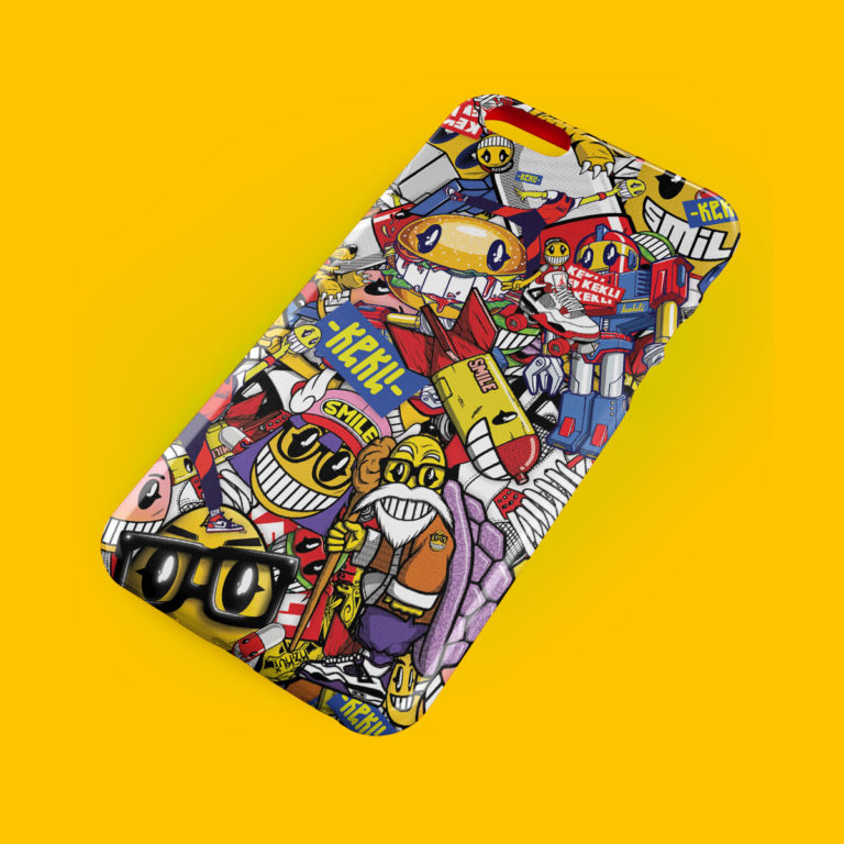 Iphone 8 case designed by the artist Kekli